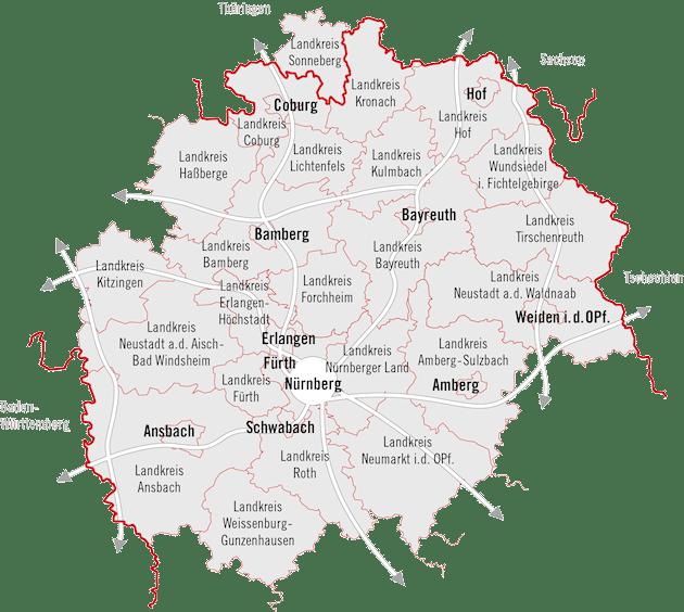 Karte mit der Region Bayern