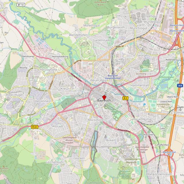 Karte von Bayreuth