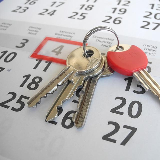 Schlüssel auf Kalender