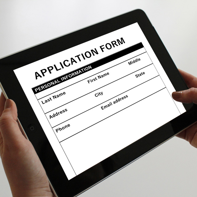 Application form on the iPad