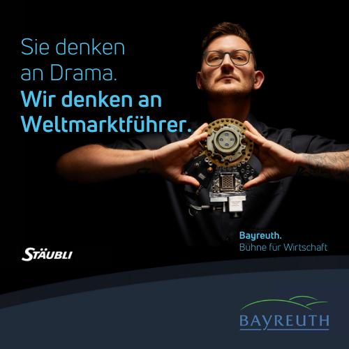 Sie denken an Drama. Wir denken an Weltmarktführer. Kampagnenmotiv Stäubli für Bayreuth. Bühne für Wirtschaft.