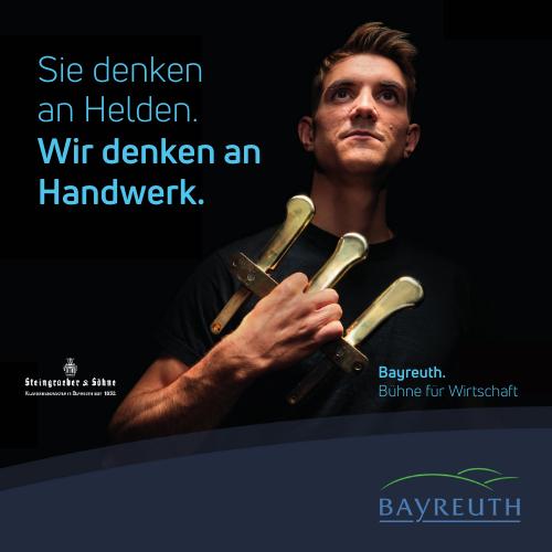 Sie denken an Helden. Wir denken an Handwerk. Kampagnenmotiv Steingraeber & Söhne für Bayreuth. Bühne für Wirtschaft