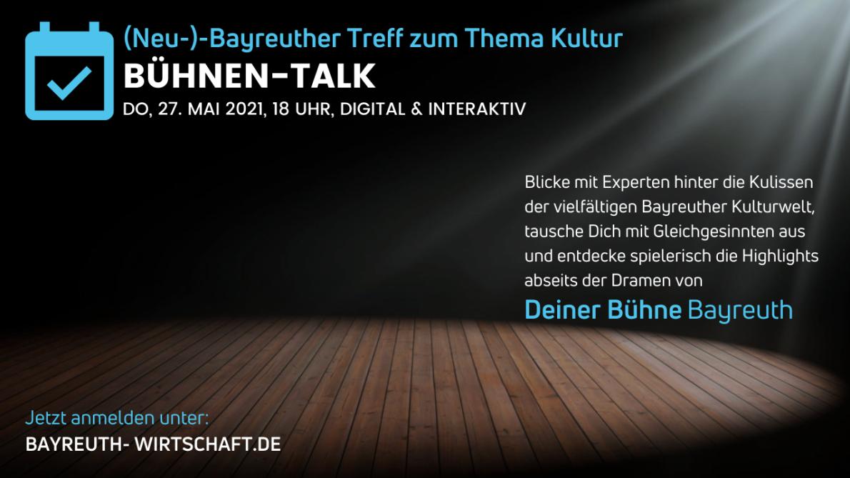 Ankündigung der Veranstaltung Bühnen Talk am 27. Mai