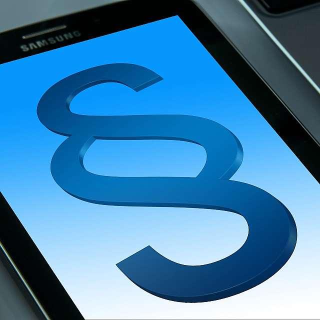 Paragraphensymbol wird auf dem Smartphone angezeigt